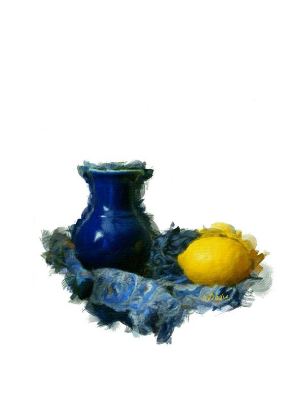 هنر نقاشی و گرافیک محفل نقاشی و گرافیک صادق اکبری عنوان:کوزه ای به رنگ آبی