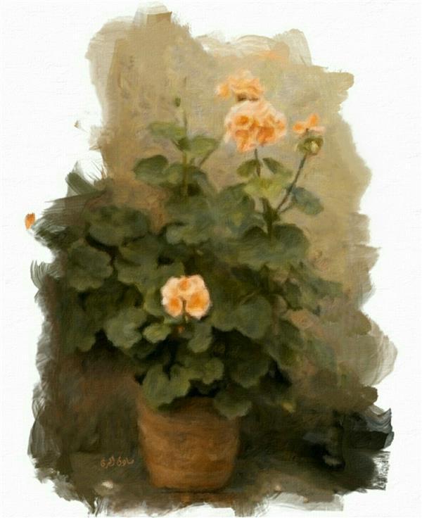 هنر نقاشی و گرافیک محفل نقاشی و گرافیک صادق اکبری #نقاشی #رنگ و روغن روی بوم #گلدان #صادق اکبری
