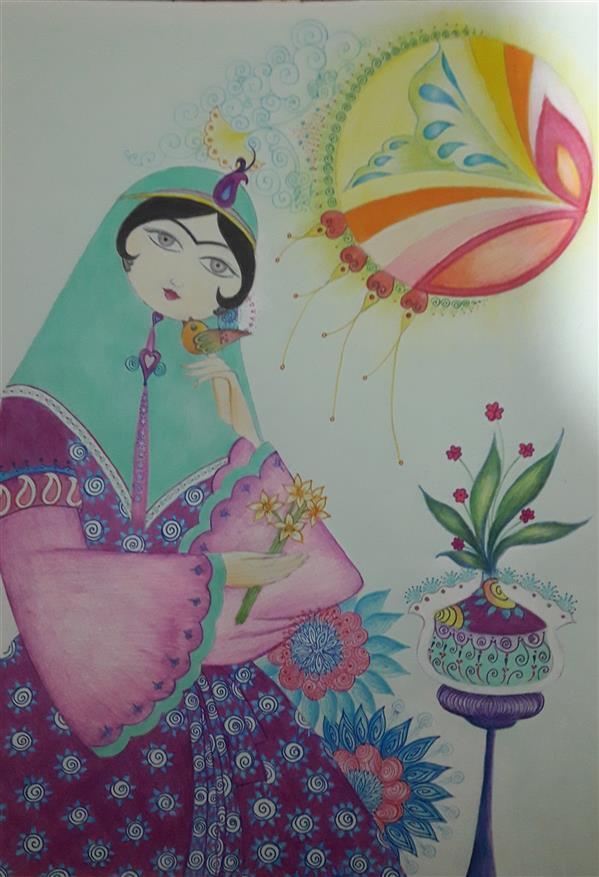 هنر نقاشی و گرافیک محفل نقاشی و گرافیک فاطمه خونمری #مداد رنگی و خود کار رنگی #A4