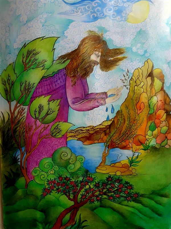هنر نقاشی و گرافیک محفل نقاشی و گرافیک فاطمه خونمری #مداد رنگی #خودکار رنگی #آب معرفت