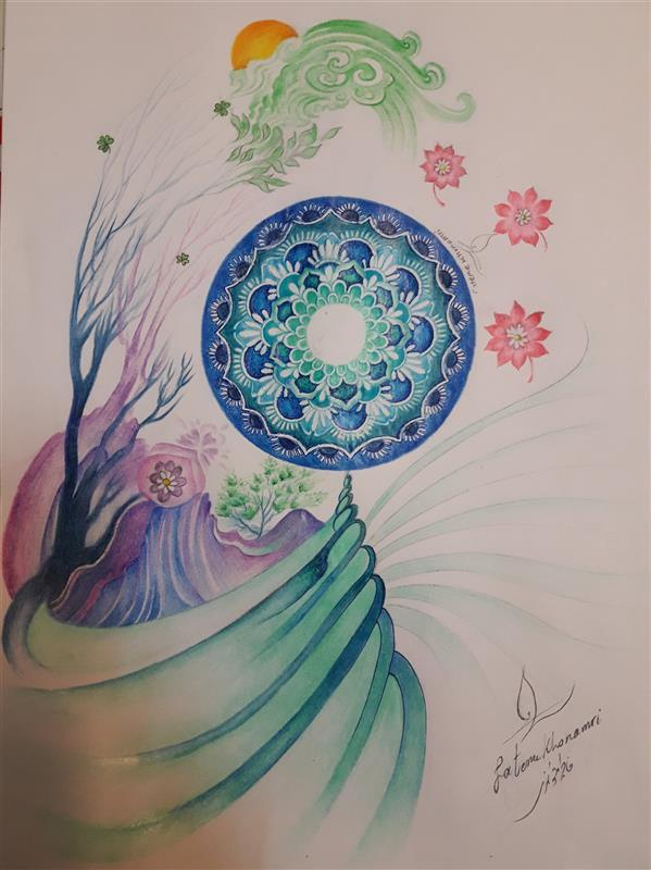هنر نقاشی و گرافیک محفل نقاشی و گرافیک فاطمه خونمری #بهارِ روح #مداد رنگی #تخیلی