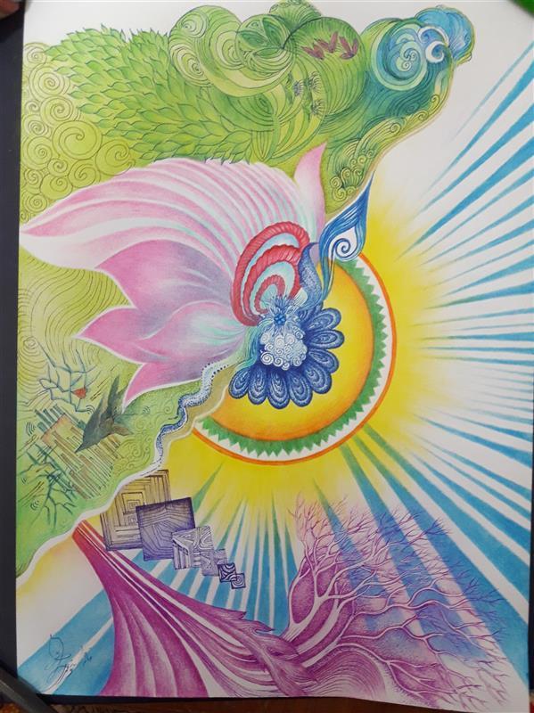 هنر نقاشی و گرافیک محفل نقاشی و گرافیک فاطمه خونمری #تخیلی مداد رنگی