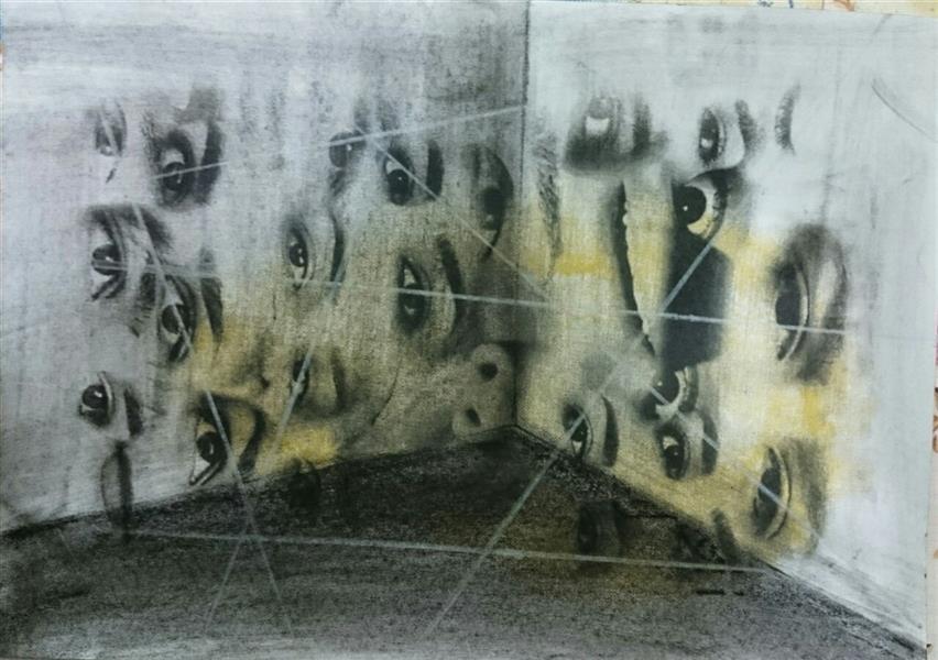هنر نقاشی و گرافیک محفل نقاشی و گرافیک ندا دهقان Neda Dehgan: #چشمانی #خیره به رفتار و زندگی ما که #اختیارمان را از آن خود میکنند و ما را تا مرز #نابودی میکشاند. ابعاد اثر: 20*30 سانتیمتر میکس مدیا