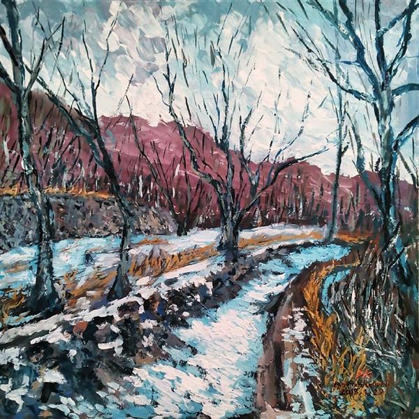 هنر نقاشی و گرافیک محفل نقاشی و گرافیک peyman_karandi_art نام تابلو : زمستان در ارتفاعات گیلان تکنیک:اکرلیک ابعاد:30 ×30