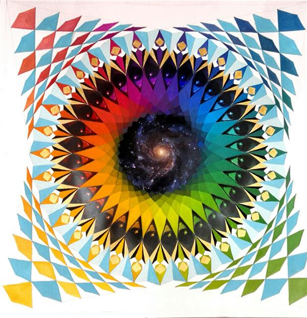 هنر نقاشی و گرافیک محفل نقاشی و گرافیک razieh izadikhah #montaradala #mondala #fullcolor #geometric #painting #photocolage #eyes