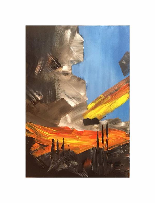 هنر نقاشی و گرافیک محفل نقاشی و گرافیک Omidoo اکریلیک روی مقوا 27*40 cm #abstract