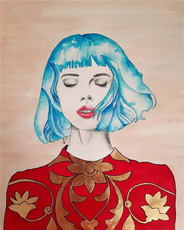 هنر نقاشی و گرافیک محفل نقاشی و گرافیک نگار صادق #نقاشی #آبرنگ #ورقه-طلا نام اثر:گلستان ابعاد:۷۳.۶۰