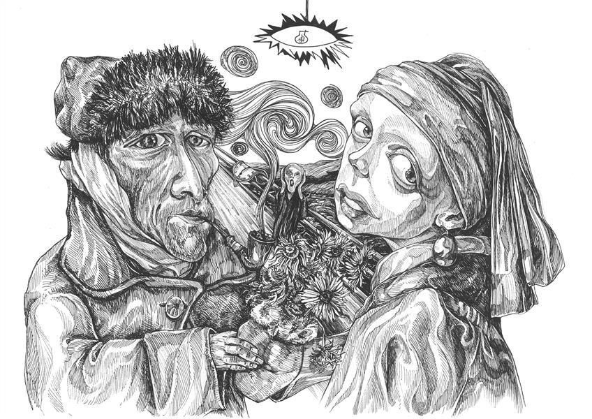 هنر نقاشی و گرافیک محفل نقاشی و گرافیک حسین طاهرپرستار ابعاد 30*40 و تکنیک راپید