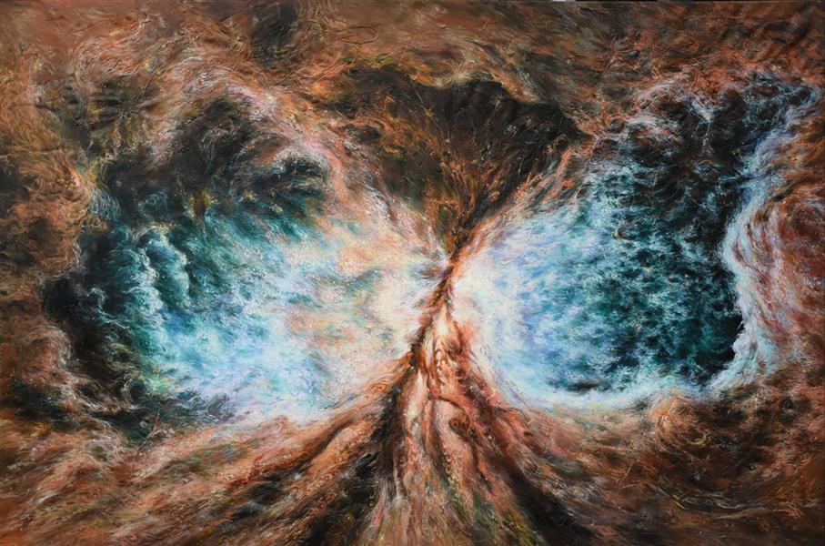 """هنر نقاشی و گرافیک محفل نقاشی و گرافیک مونس احمدی پور هدف من در این اثر که به ابعاد ۱۸۰×۱۲۰ سانتی متر میباشد. نشان دادن جنبش ذرات هستی است که تنها با نیروی عشق امکان پذیر است. چنانکه دانته در پایان کمدی الهی مینویسد """"وصال روحانی غایی مستلزم تجربه و درک این معناست، عشق که آسمانها و زمین را حرکت می دهد. و برای القای بهتر این هدف از بافت پودر مل، رنگ آکریلیک و حروف خوشنویسی استفاده کردم. #نقاشی #آکریلیک#پودرمل#ترکیب مواد"""
