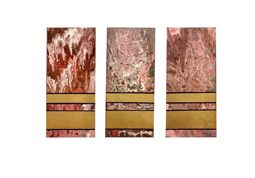 هنر نقاشی و گرافیک محفل نقاشی و گرافیک لیلا خسروی نقاشی#ابستره روی #بوم دیپ دور مشکی تکنیک #اکرلیک سایز #۵۰*۶۰