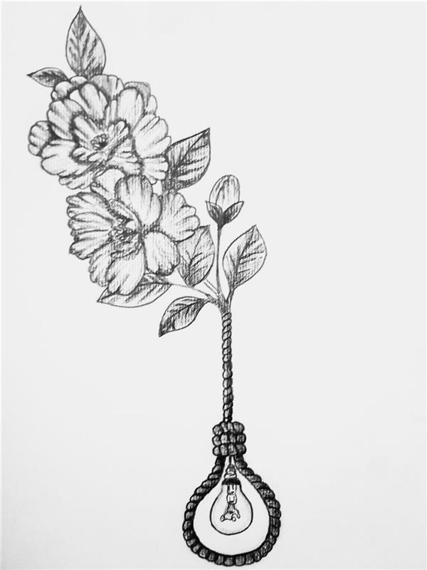 هنر نقاشی و گرافیک محفل نقاشی و گرافیک لیلا خسروی طراحی #سورئال تکنیک #سیاه قلم روی مقوا سایز #A4