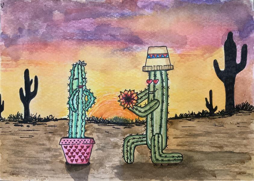 هنر نقاشی و گرافیک محفل نقاشی و گرافیک لیلا خسروی #تصویرسازی از #کاکتوس با #آبرنگ روی مقوا سایز #A4