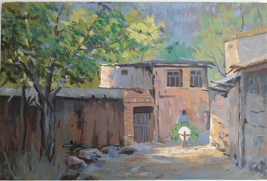 هنر نقاشی و گرافیک محفل نقاشی و گرافیک maryam-mp کوچه روستایی تکنیک رنگ و روغن ابعاد 50*70 #امپرسیونیسم