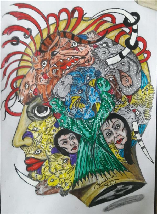 هنر نقاشی و گرافیک محفل نقاشی و گرافیک محسن الله مرادی اثر استاد محسن الله مرادی  نوع کار ذهنی تجسمی مفهومی روی کاغ آس با راپید و مداد رنگی