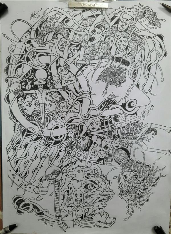 هنر نقاشی و گرافیک محفل نقاشی و گرافیک محسن الله مرادی نقاشی کامل ذهنی انجام شده ومفهومی در روی کاغذ As ذهنی تجشمی طراحی با راپید