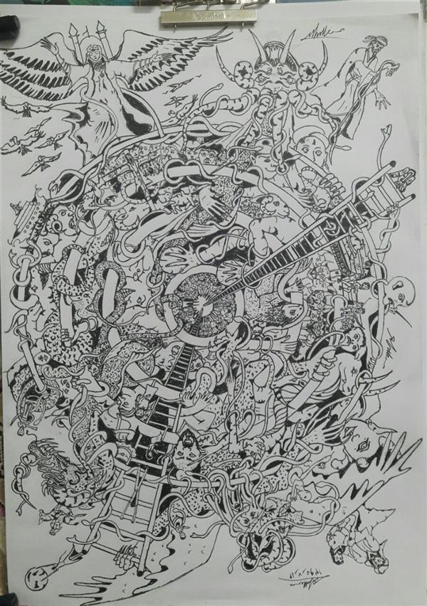 هنر نقاشی و گرافیک محفل نقاشی و گرافیک محسن الله مرادی کاغد استفاده شده A3 نقاشی با راپید  کاملا ذهنی