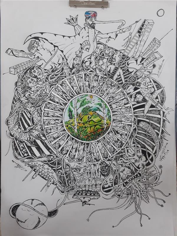 هنر نقاشی و گرافیک محفل نقاشی و گرافیک محسن الله مرادی نام هنرمند # استاد#محسن_اللهمرادی نام اثر پنجرها  نقاشی ذهنی تجسمی مفهومی  کار با راپید مداد رنگی