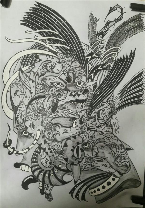 هنر نقاشی و گرافیک محفل نقاشی و گرافیک محسن الله مرادی نام اثر بیگانه  کاملا ذهنی تجسمی  با راپید  کار روی کاغذ آ س
