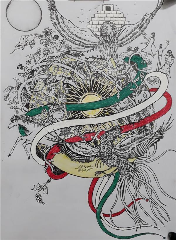 هنر نقاشی و گرافیک محفل نقاشی و گرافیک محسن الله مرادی نقاشی ذهنی کاملا طرح ذهنی است نوع کار ذهنی تجسمی باراپید کارشده  روی کاغذ آ س