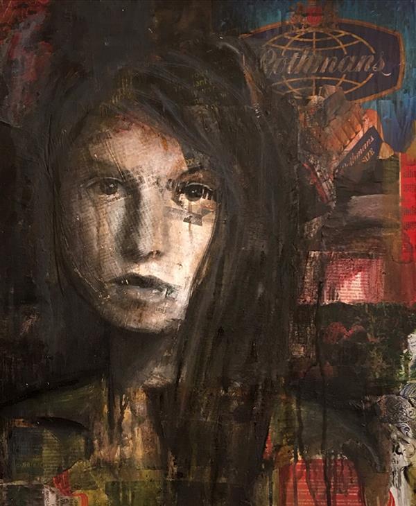 هنر نقاشی و گرافیک محفل نقاشی و گرافیک نیلوفر کرم آشتیانی ۶۰*۵۰ #میکس_مدیا  #پرتره  روی چوب