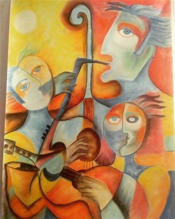 هنر نقاشی و گرافیک محفل نقاشی و گرافیک توحید ظفرجو(omen) #کوبیسم#پاستل روی فابیانا سایز 50×70