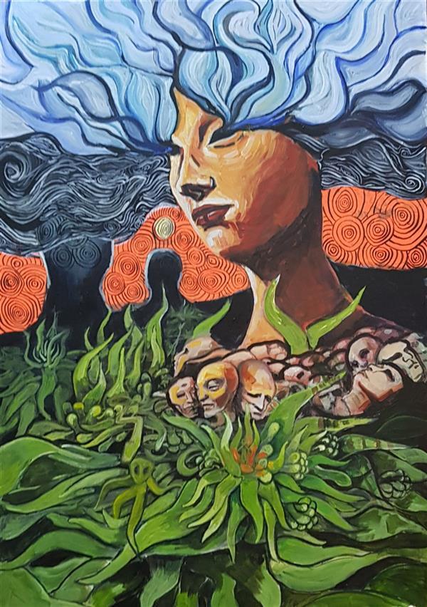 هنر نقاشی و گرافیک محفل نقاشی و گرافیک نریمان امیدی #تکنیک اکرولیک فلورسنت رو یم بوم۵۰ در ۷۰