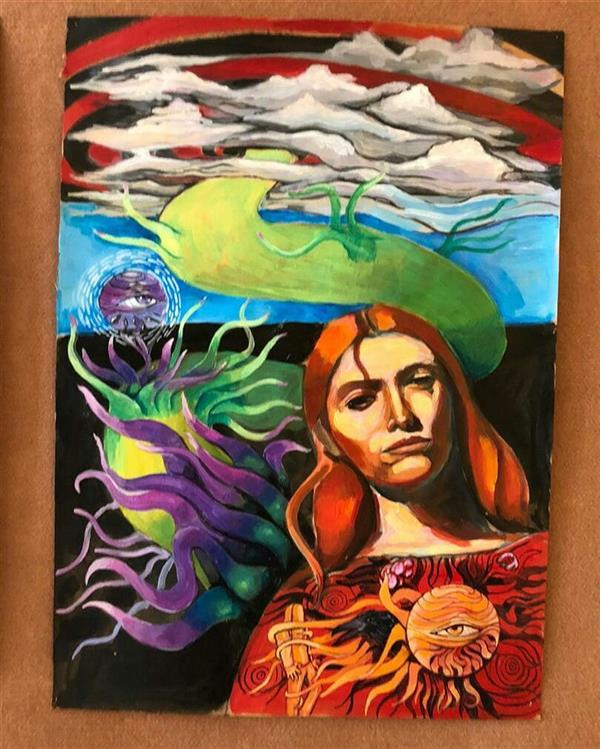 هنر نقاشی و گرافیک محفل نقاشی و گرافیک نریمان امیدی #تکنیک اکرولیک فلورسنت رو ی مقوا ۷۰ در ۵۰