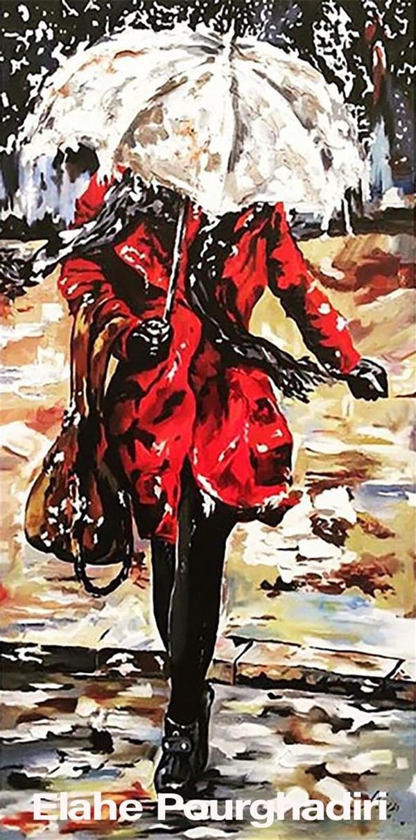 هنر نقاشی و گرافیک محفل نقاشی و گرافیک Elahe Pourghadiri تابلو رنگ روغن برجسته ابعاد: ١٠٠ * ٥٠ (cm * cm ) #oilpainting #texture #umbrella #rain #snow #woman