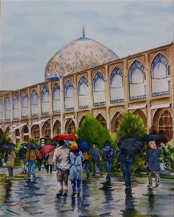 هنر نقاشی و گرافیک محفل نقاشی و گرافیک Elahe Pourghadiri میدان نقش جهان تابلو آبرنگ ابعاد: ٤٧ * ٣٧ (cm * cm) #watercolor #naqshe-jahan #rainy