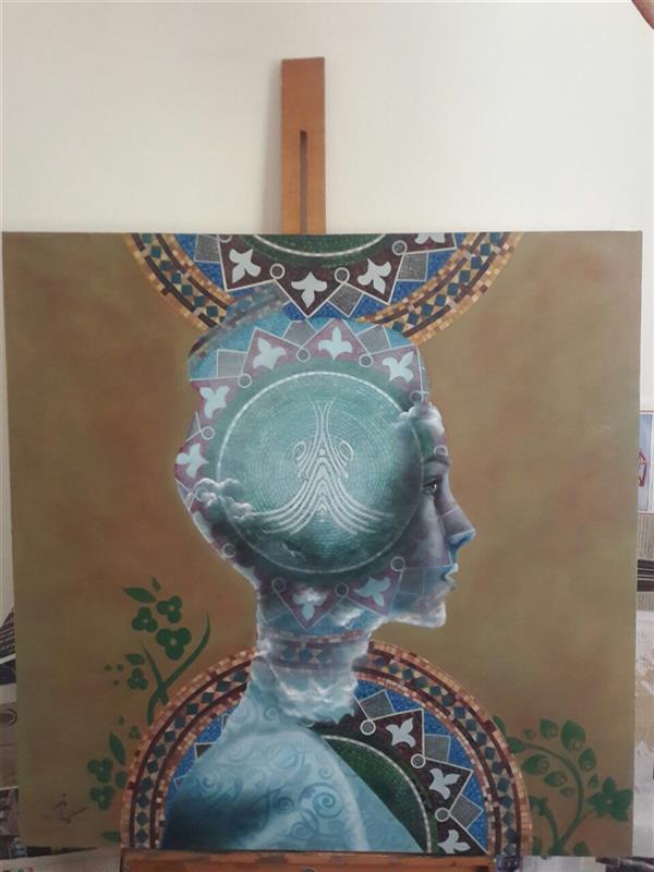 هنر نقاشی و گرافیک محفل نقاشی و گرافیک Samaneh Painting نقاشی تکنیک رنگ و روغن  عنوان:این منم در آینه یا تویی برابرم سبک سورئالیسم با ابعاد ٨٠*٨٠
