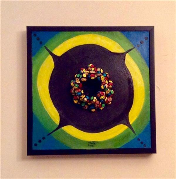 هنر نقاشی و گرافیک محفل نقاشی و گرافیک Arita عنوان اثر :  حفره 40/40 #نقاشى  حجم دار تلفیق کاج و #رنگ روغن از مجموعه : حس طبیعت در درون هر انسان  با وجود تمام در خشندگیهاش حفره تاریکى هم  وجود داره  من در این کار با چیدمان نوعى کاج حفره تاریک رو در بین تبلور رنگ به نمایش دراوردم