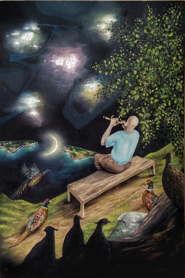 """هنر نقاشی و گرافیک محفل نقاشی و گرافیک محمد بیابان #رنگ-روغن #سورئالیسم #هنر_مفهومی  سایز 60 در 40 سانت موضوع: ساعت 2 این کار الهام گرفته از بیت """"بشنو از نی چون حکایت میکند از جدایی ها شکایت میکند"""" میباشد."""