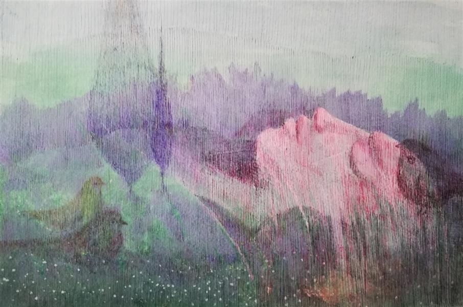 هنر نقاشی و گرافیک محفل نقاشی و گرافیک bahman zareian #بهمن_زارعیان ۱۳۹۹ ترکیب مواد روی مقوا