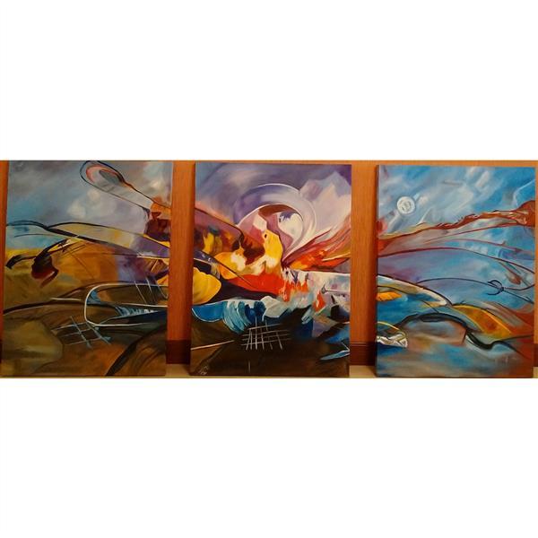 هنر نقاشی و گرافیک محفل نقاشی و گرافیک نداقنبری #ابعاد هر پنل : 60 & 80  همراه با قاب  #تکنیک : آبستره . #متریال : رنگ  و روغن روی بوم  #سال خلق اثر :1395 # نام اثر: رقص رنگها  # نام هنرمند : ندا قنبری