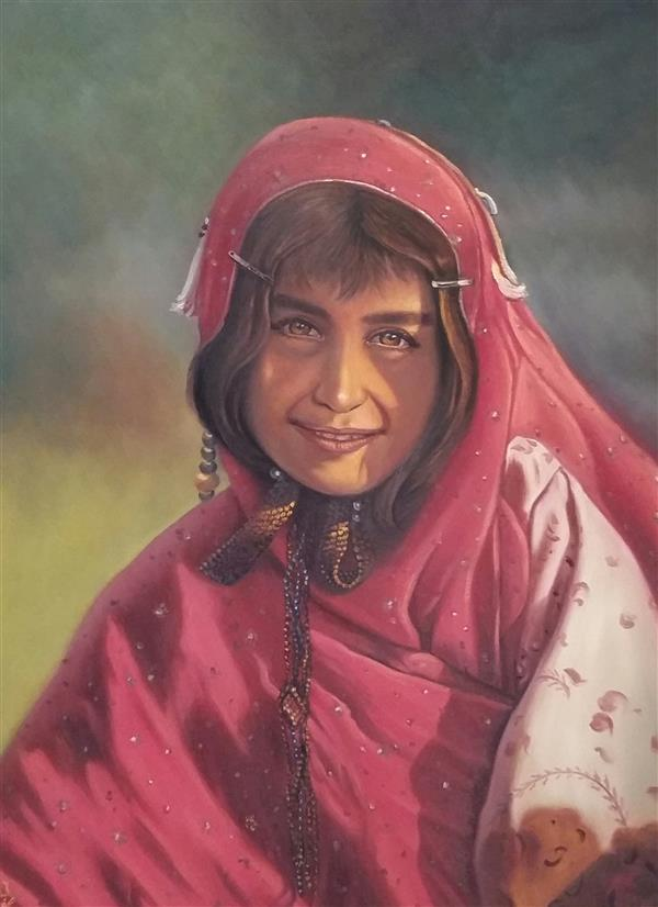 هنر نقاشی و گرافیک محفل نقاشی و گرافیک جعفر صفری #دختر#کرد تکنیک رنگ روغن روی بوم ۷۰×۵۰