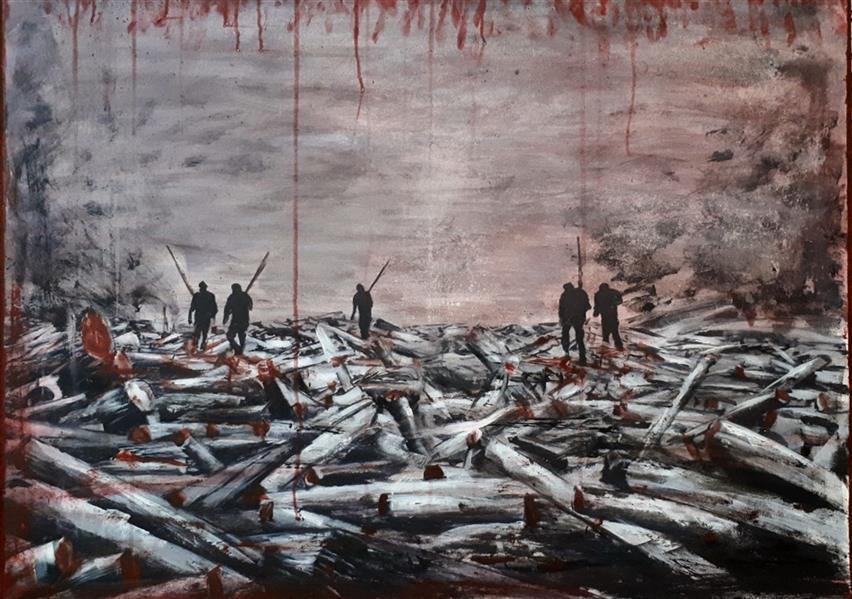 """هنر نقاشی و گرافیک محفل نقاشی و گرافیک Saeed eskandari """" کشتارگاه """" اکرلیک روی بوم #فروخته_شد ۶۰ × ۸۰"""