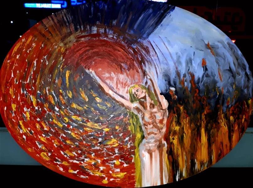 هنر نقاشی و گرافیک محفل نقاشی و گرافیک Saeed eskandari هنرمند : #سعیداسکندری  نام اثر : #مسکوتدرخروشآتش ابعاد : بیضی ۶۰ × ۸۰ اکرلیک روی بوم