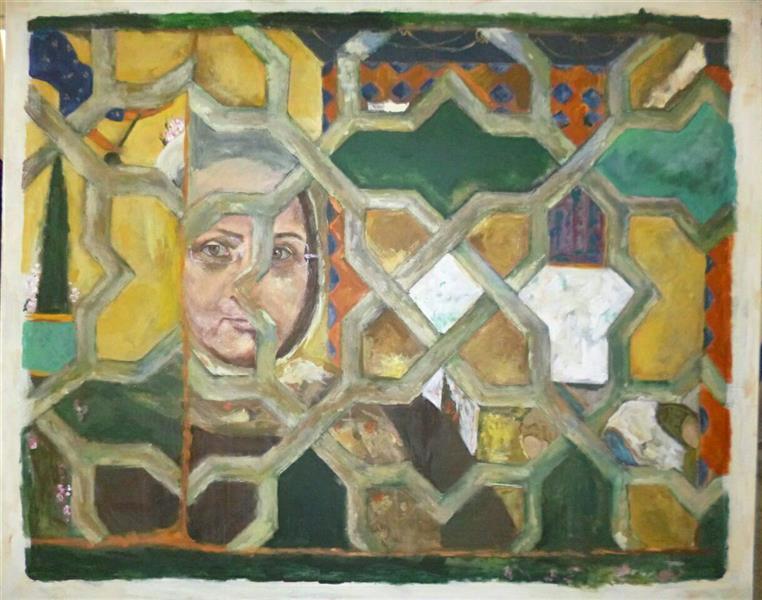 هنر نقاشی و گرافیک محفل نقاشی و گرافیک شمس آفاق حسینیان #اندازه 120*130 #عنوان ؛خودنگاره #تکنیک :اکرلیک