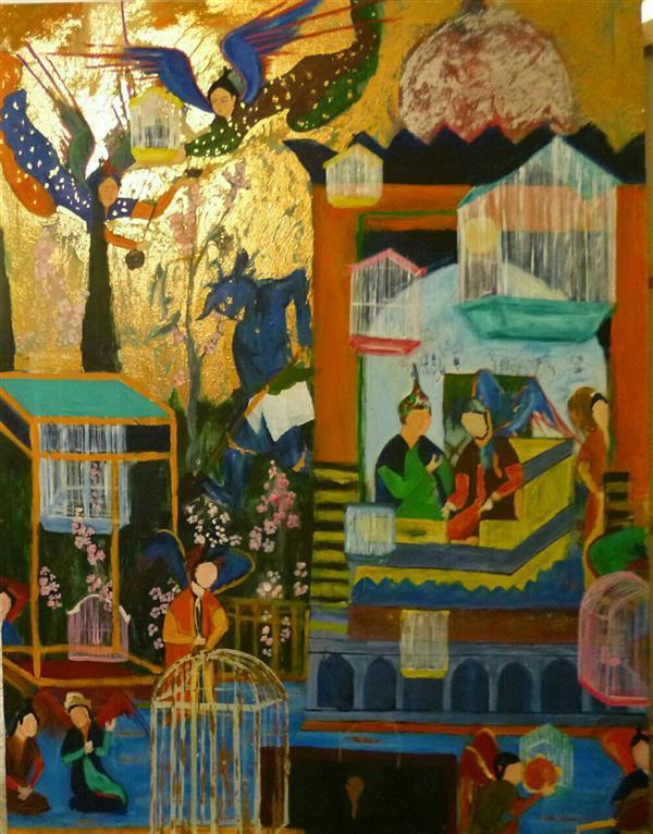 هنر نقاشی و گرافیک محفل نقاشی و گرافیک شمس آفاق حسینیان اندازه: 150*200 تکنیک : اکرلیک ورق طلا بدون عنوان قیمت توافقی