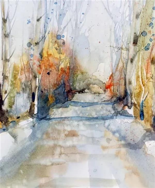 هنر نقاشی و گرافیک محفل نقاشی و گرافیک زهره ثقفی آبرنگ . ۳۰×۴۰ #پاییز - جنگل سپیدار