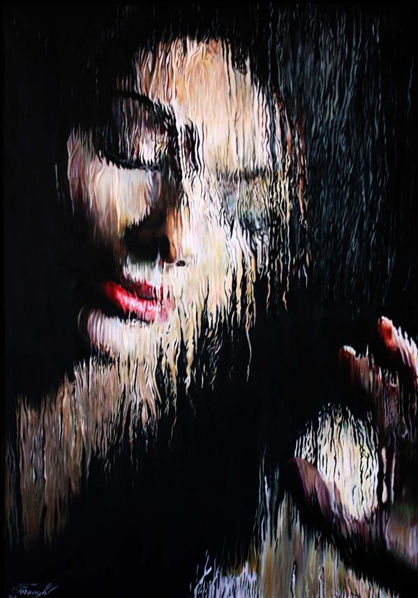 هنر نقاشی و گرافیک محفل نقاشی و گرافیک فروغ 100*70 رنگ و روغن #پنجره ,#پرتره,#پشت شیشه بارونی