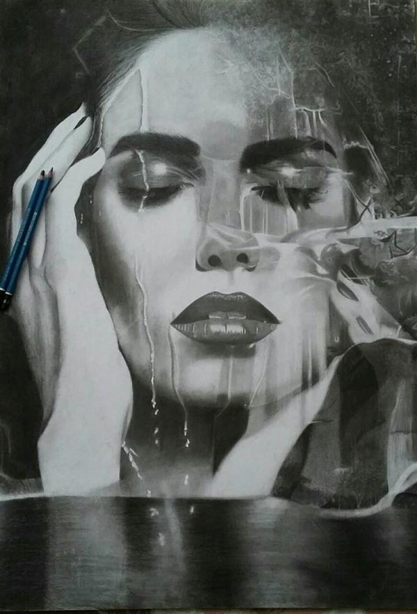 هنر نقاشی و گرافیک محفل نقاشی و گرافیک ساناز صدوقی جاری، #سیاه_قلم، ابعاد ۵۰در ۷۰