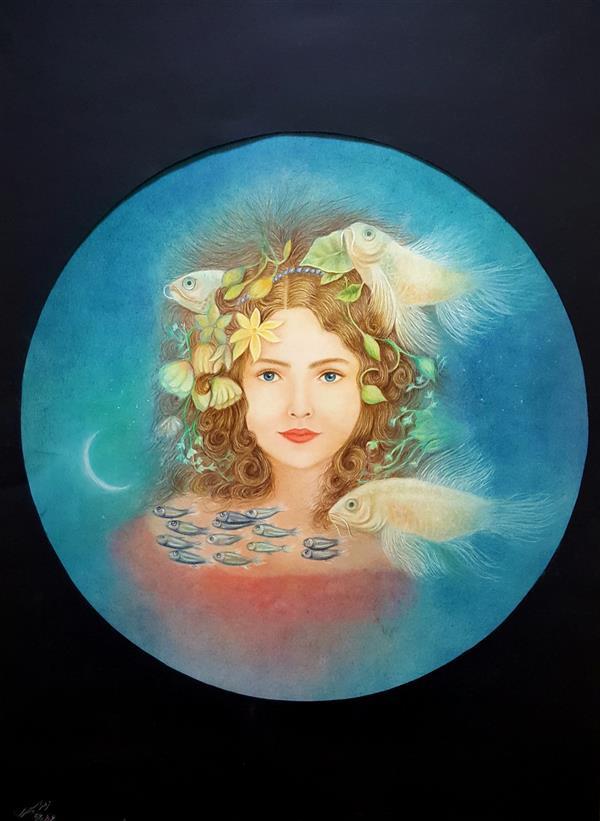 هنر نقاشی و گرافیک محفل نقاشی و گرافیک زهراسپهری #لبخند_ژه #سورئالیسم الهام گرفته از رمان ژه کریستین بوبن cm70*50