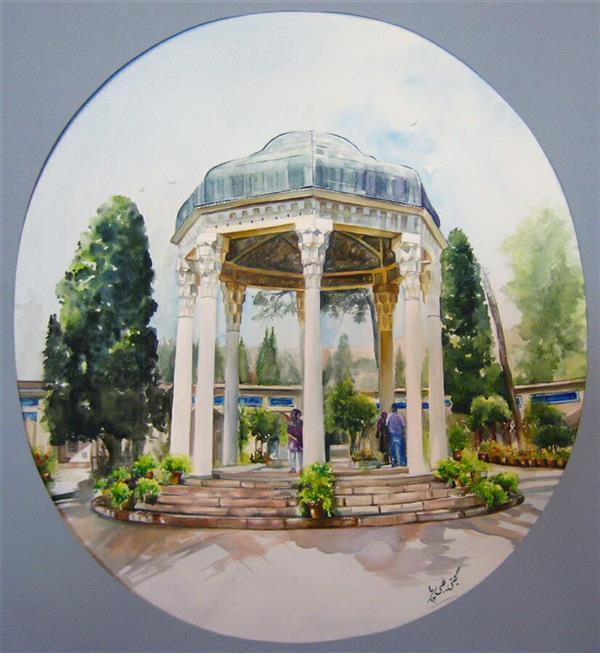 هنر نقاشی و گرافیک محفل نقاشی و گرافیک گیتی طیبی تکنیک آبرنگ ۶۰×۸۰ با قاب و شیشه #حافظیه#watercolor#realism