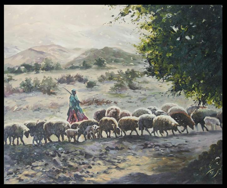 هنر نقاشی و گرافیک محفل نقاشی و گرافیک گیتی طیبی #دختر عشایری چوپان#امپرسیونیسم#با قاب#رنگ روغن#۵۰×۴۰