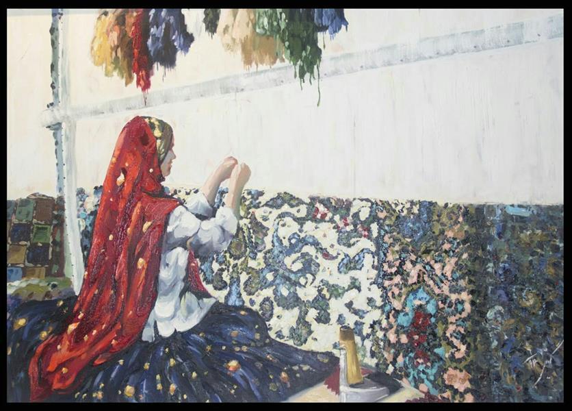 هنر نقاشی و گرافیک محفل نقاشی و گرافیک گیتی طیبی #دختر عشایری#امپرسیونیسم#رنگ روغن#۵۰×۷۰ #با قاب