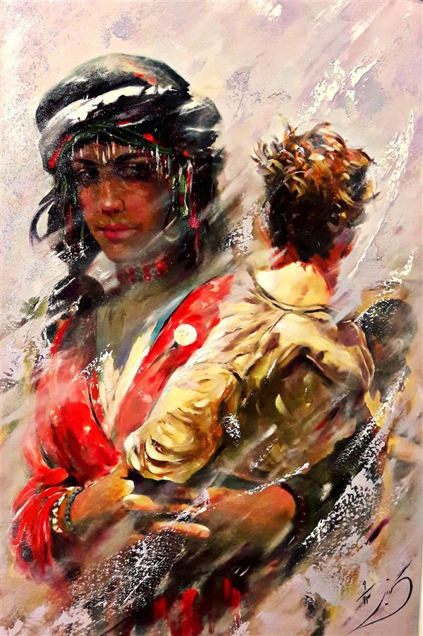 هنر نقاشی و گرافیک محفل نقاشی و گرافیک گیتی طیبی #رنگ روغن#۱۳۹۸#مادرانه#گیتی طیبی