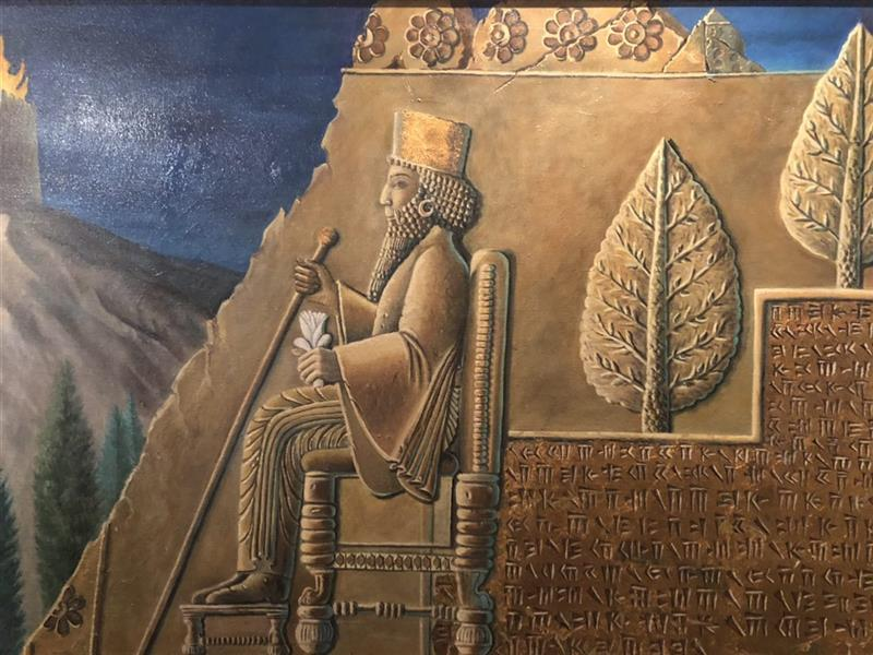 هنر نقاشی و گرافیک محفل نقاشی و گرافیک مرجان دانایی #کوروش کبیر#کلاژ#ورقطلا#تختجمشید