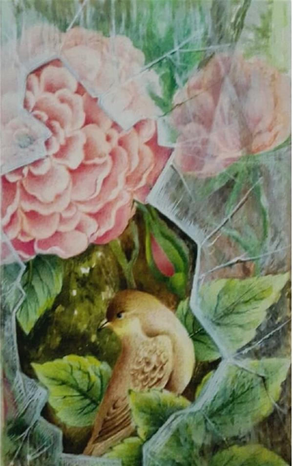 هنر نقاشی و گرافیک محفل نقاشی و گرافیک مهرنوش مهرابی گل و مرغ تکنیک:آبرنگ و گواش