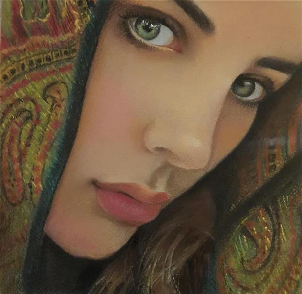 هنر نقاشی و گرافیک محفل نقاشی و گرافیک مهرنوش مهرابی #پرتره#تکنیک گچ پاستل